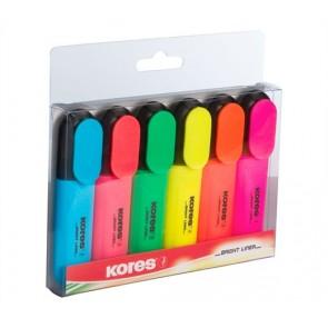 Szövegkiemelő készlet, 0,5-5 mm, KORES, 6 különböző szín