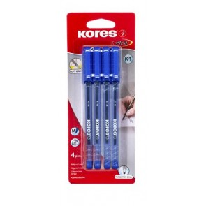 "Golyóstoll, 1,0 mm, kupakos, KORES ""K1-M"", kék"