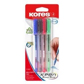 """Golyóstoll készlet, 1,0 mm, kupakos, KORES """"K1-M"""", vegyes színek"""