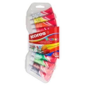 Tempera készlet, 12 ml, KORES, 12 különböző szín