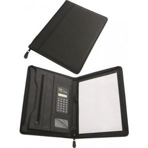 Konferencia mappa, A4, műbőr, számológéppel, fekete