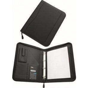Konferencia mappa, A4, műbőr, gyűrűs szerkezettel, számológéppel,  fekete