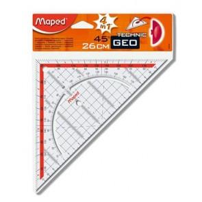 """Háromszög vonalzó, műanyag, 45°, 26 cm, MAPED """"GeoTechnic"""""""