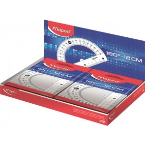 """Szögmérő, műanyag 180°-os kínáló dobozos MAPED """"Essentials"""""""
