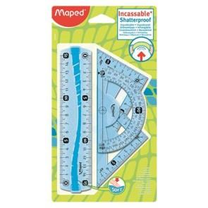 """Vonalzókészlet, kicsi, műanyag, hajlítható, 4 darabos, MAPED """"Flex"""""""