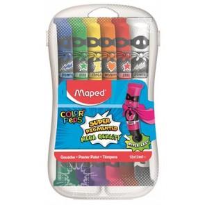 Tempera készlet, 12 darabos, műanyag dobozban, MAPED