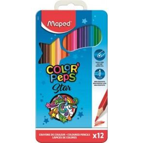 """Színes ceruza készlet, háromszögletű, fém doboz, MAPED """"Color`Peps"""", 12 különböző szín"""