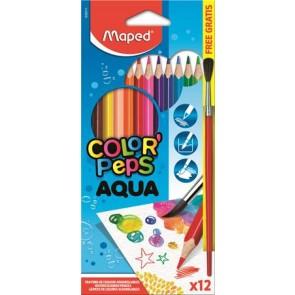 """Akvarell ceruza készlet, háromszögletű, ecsettel, MAPED """"Color`Peps"""", 12 különböző szín"""