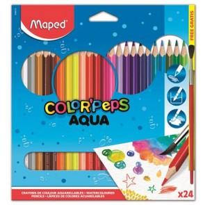 """Akvarell ceruza készlet, háromszögletű, ecsettel, MAPED """"Color Peps"""", 24 különböző szín"""