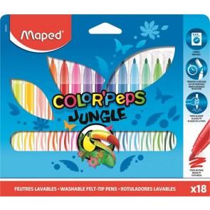 """Filctoll készlet, 2,8 mm, kimosható, MAPED """"Color`Peps Jungle"""", 18 különböző szín"""