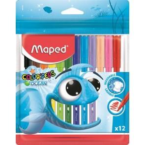 """Filctoll készlet, 2 mm, kimosható, MAPED """"Color`Peps Ocean"""", 12 különböző szín"""