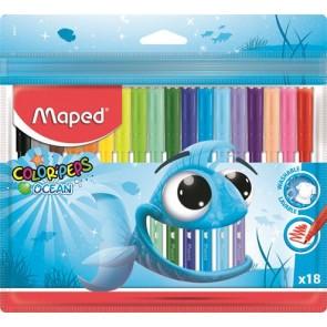 """Filctoll készlet, 2 mm, kimosható, MAPED """"Color`Peps Ocean"""", 18 különböző szín"""