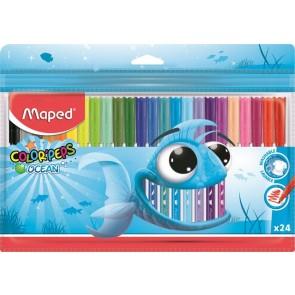 """Filctoll készlet, 2 mm, kimosható, MAPED """"Color`Peps Ocean"""", 24 különböző szín"""
