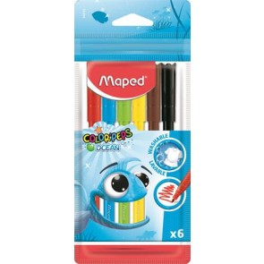"""Filctoll készlet, 2 mm, kimosható, MAPED """"Color`Peps Ocean"""", 6 különböző szín"""