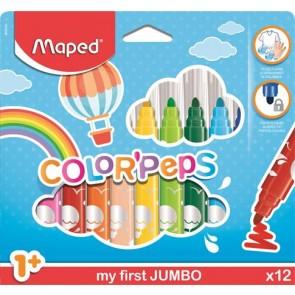 """Filctoll készlet, 1- 5 mm, kimosható, vastag, MAPED """"Color`Peps Jumbo"""", 12 különböző szín"""