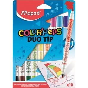 """Filctoll készlet, MAPED """"DuoTip"""", 10 különböző szín"""