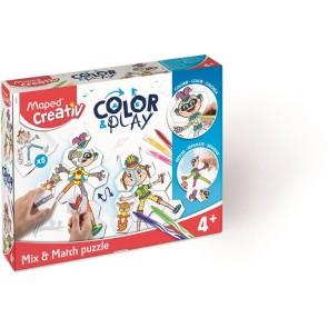"""Kreatív készségfejlesztő készlet, MAPED CREATIV, """"Color and Play"""" színező és puzzle"""