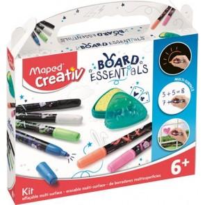 """Marker készlet, törölhető, különböző felületekre, MAPED CREATIV, """"Board Essentials,"""" 6 különböző szín"""