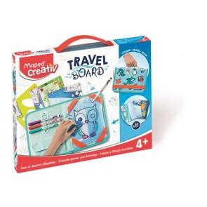 """Kreatív készségfejlesztő tábla, átlátszó, törölhető, utazótáskával, MAPED CREATIV, """"Travel Board"""", állati móka"""