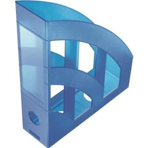 """Iratpapucs, műanyag, 75 mm, HELIT """"Economy"""", áttetsző kék"""