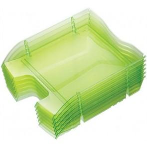 """Irattálca, műanyag, törhetetlen, HELIT """"Nestable Green Logic"""", áttetsző zöld"""