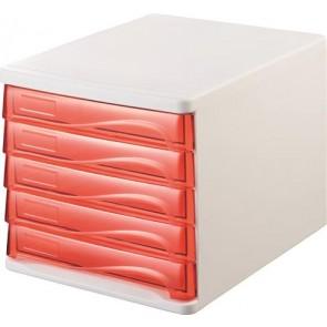 Irattároló, műanyag, 5 fiókos, HELIT, fehér/áttetsző piros