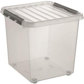 """Műanyag tárolódoboz, gurulós, 38 liter, HELIT """"Q-line"""", átlátszó"""