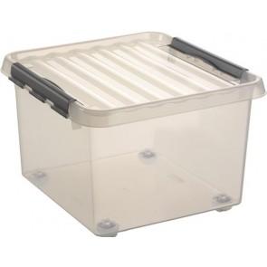 """Műanyag tárolódoboz, gurulós, 26 liter, HELIT """"Q-line"""", átlátszó"""