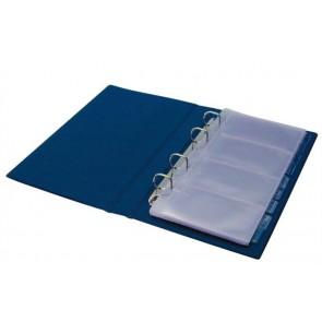 Névjegytartó, 200 db-os, gyűrűs, PANTAPLAST, kék