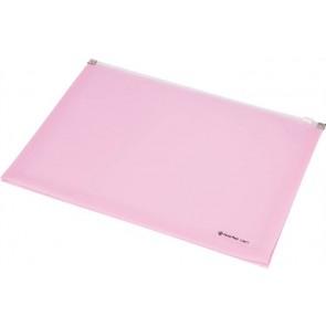 Irattartó tasak, A4, PP, cipzáras, talpas, PANTA PLAST, pasztell rózsaszín