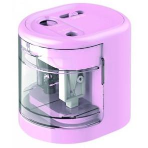 """Hegyező, kétlyukú, asztali, elemes, USB töltővel, RAPESCO""""PS12-USB"""", világos rózsaszín"""