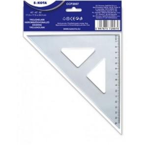 Háromszög vonalzó, műanyag, 45°, 16 cm, SAKOTA