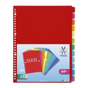 Regiszter, műanyag, A4 Maxi, 12 részes, VIQUEL