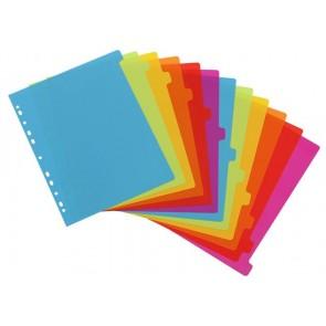 """Regiszter, műanyag, A4 maxi, 12 részes, VIQUEL, """"Happy Fluo"""", színes"""