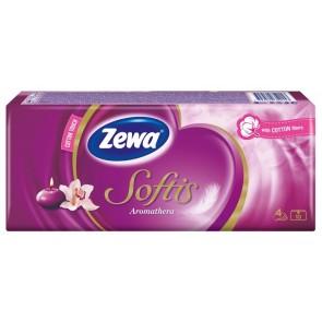 """Papír zsebkendő, 4 rétegű, 10x9 db, ZEWA """"Softis"""", aromatherapia"""