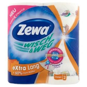 """Háztartási papírtörlő, 2 rétegű, 2 tekercses, ZEWA """"Wisch&Weg extra lang"""""""