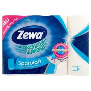 """Háztartási papírtörlő, 2 rétegű, 4 tekercses, ZEWA """"Wisch&Weg sparblatt"""""""
