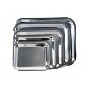 Tálca, szögletes, rozsdamentes acél, krómozott, 25 x 21cm