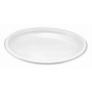 Műanyag tányér, lapos, mikrózható, 21 cm átmérő, fehér