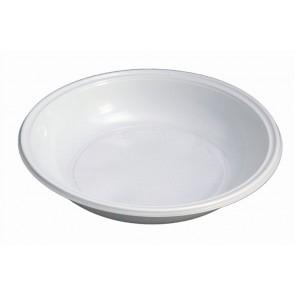 Műanyag tányér, mély, mikrózható, 21 cm átmérő, fehér