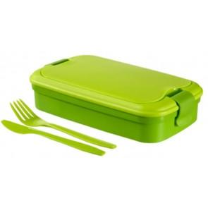 """Ételtartó, evőeszközzel, CURVER """"Lunch&Go"""", zöld"""