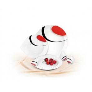 Desszertes tányér,ROTBERG, fehér, 19 cm, 6db-os szett, piros-fekete mintával