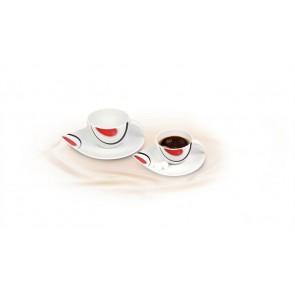 Mokkáscsésze+alj,ROTBERG, fehér, 10cl, 6db-os szett, piros-fekete mintával