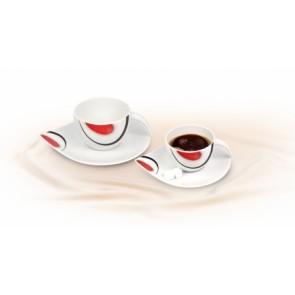 Mokkáscsésze+alj,ROTBERG, fehér, 10cl, 2db-os szett, piros-fekete mintával