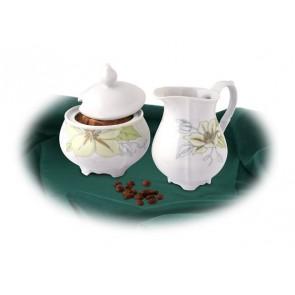 Tejszínkiöntő, porcelán,ROTBERG, fehér, 25cl, zöldvirágos mintával