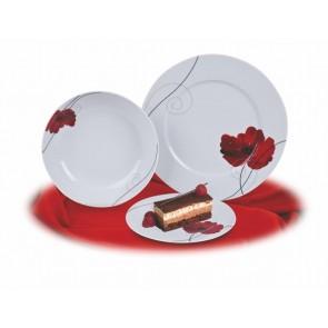 Desszertes tányér,ROTBERG, fehér, 19 cm, 6db-os szett, pipacsos mintával