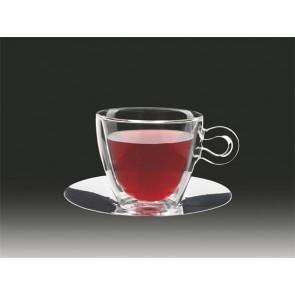 """Teás csésze rozsdamentes aljjal, duplafalú üveg, 30cl, 2db-os szett, """"Thermo"""""""