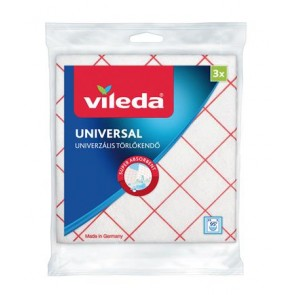 """Törlőkendő, 34x36 cm, 3 db, VILEDA """"Universal"""", fehér-piros"""
