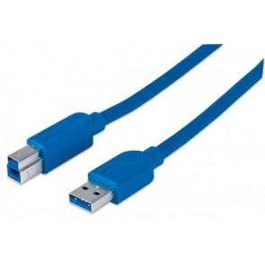 USB 3.0 nyomtató kábel, 3 m, MANHATTAN, kék