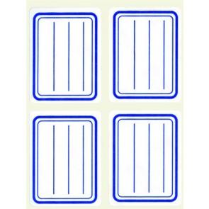 Füzetcímke, kék szegélyes, vonalas, 38x50 mm, 20 db, APLI